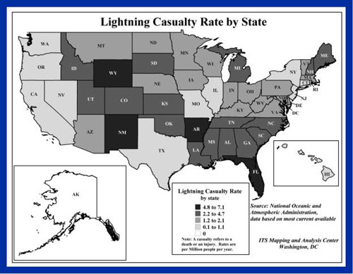 Lightning casualty rate by state