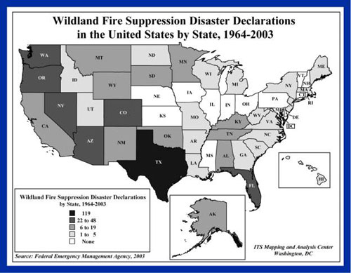 Map of wildland fire suppression disaster declarations in the united states by state from 1964 through 2003