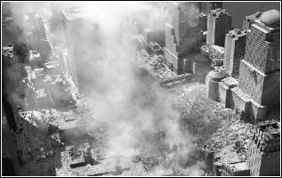 Image of buildings destroyed by an act of terrorism