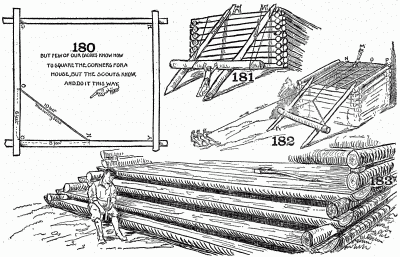 How to square the corners, roll the logs of cabin, and make log steps.
