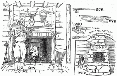 Fireplace and mantel of half logs. Also centre fireplaces for cabin.